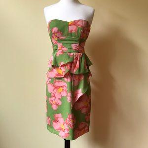 Nanette Lepore Silk Strapless Floral Print Dress